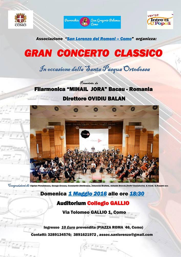 Concerto di Pasqua ortodossa a Como con l'Orchestra Sinfonica Mihail Jora di Bacau- Romania