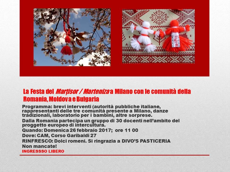 Invito. La Festa del Marțisor / Marteniza a Milano con le comunità della Romania, Moldova e Bulgaria
