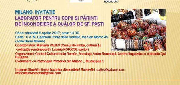 Laborator de încondeiere a ouălor de Sf Paști, organizat la Milano