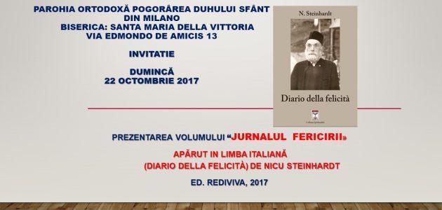 """""""Jurnalul fericirii"""" de Nicu Steinhardt în traducere italiană, va fi prezentat la Parohia Ortodoxă Română din Milano"""