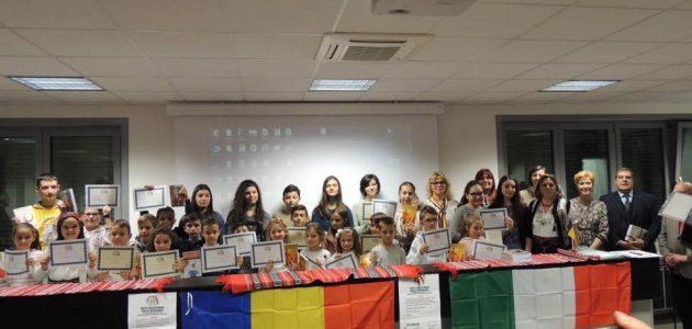 Un grup de 40 de copii români au fost premiați la Cremona cu ocazia Zilei Naționale a României