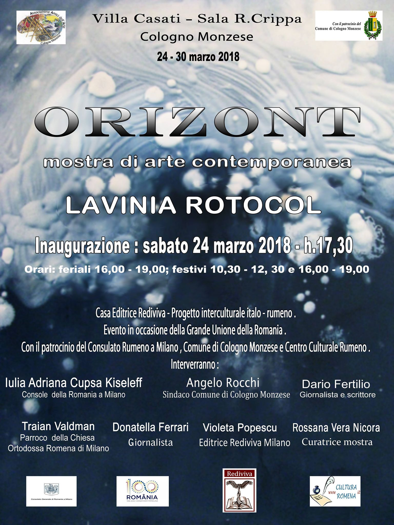 """Mostra-evento Lavinia Rotocol: """"Orizont"""" – Villa Casati (Cologno Monzese) Milano. Inaugurazione sabato 24 marzo 2018"""