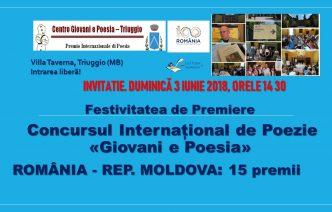 România și Republica Moldova numeroase premii și distincții la Premiul Internațional de Poezie GIOVANI E POESIA – duminică 3 iunie 2018, Villa Taverna, Triuggio (MB)