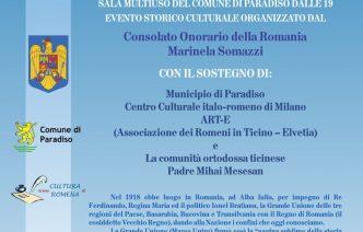 A Lugano mostra-evento dedicata al Centenario della Grande Unione della Romania (1918-2018)