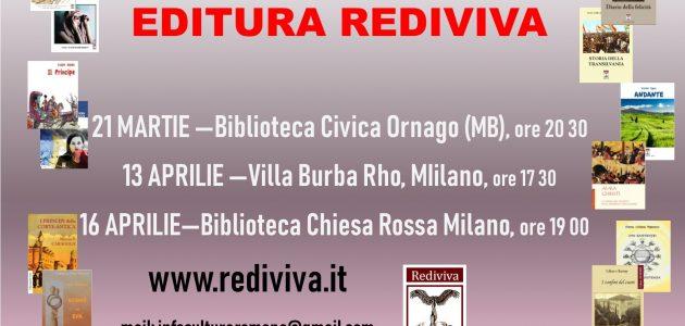 Comunicat. Evenimente editura Rediviva în bibliotecile italiene – martie-aprilie 2019