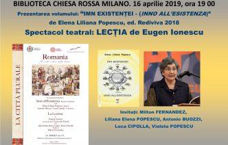 """Poezie și teatru românesc în cadrul manifestării """"Milano. Orașul Plural""""."""