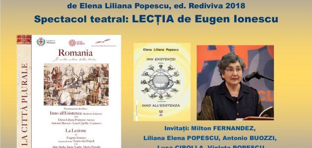 """Evento. Presentazione libro: """"Inno all'Esistenza"""" di  Elena Liliana Popescu e lo spettacolo teatrale: """"La Lezione"""" di Eugen Ionescu. Biblioteca Chiesa Rossa Milano"""