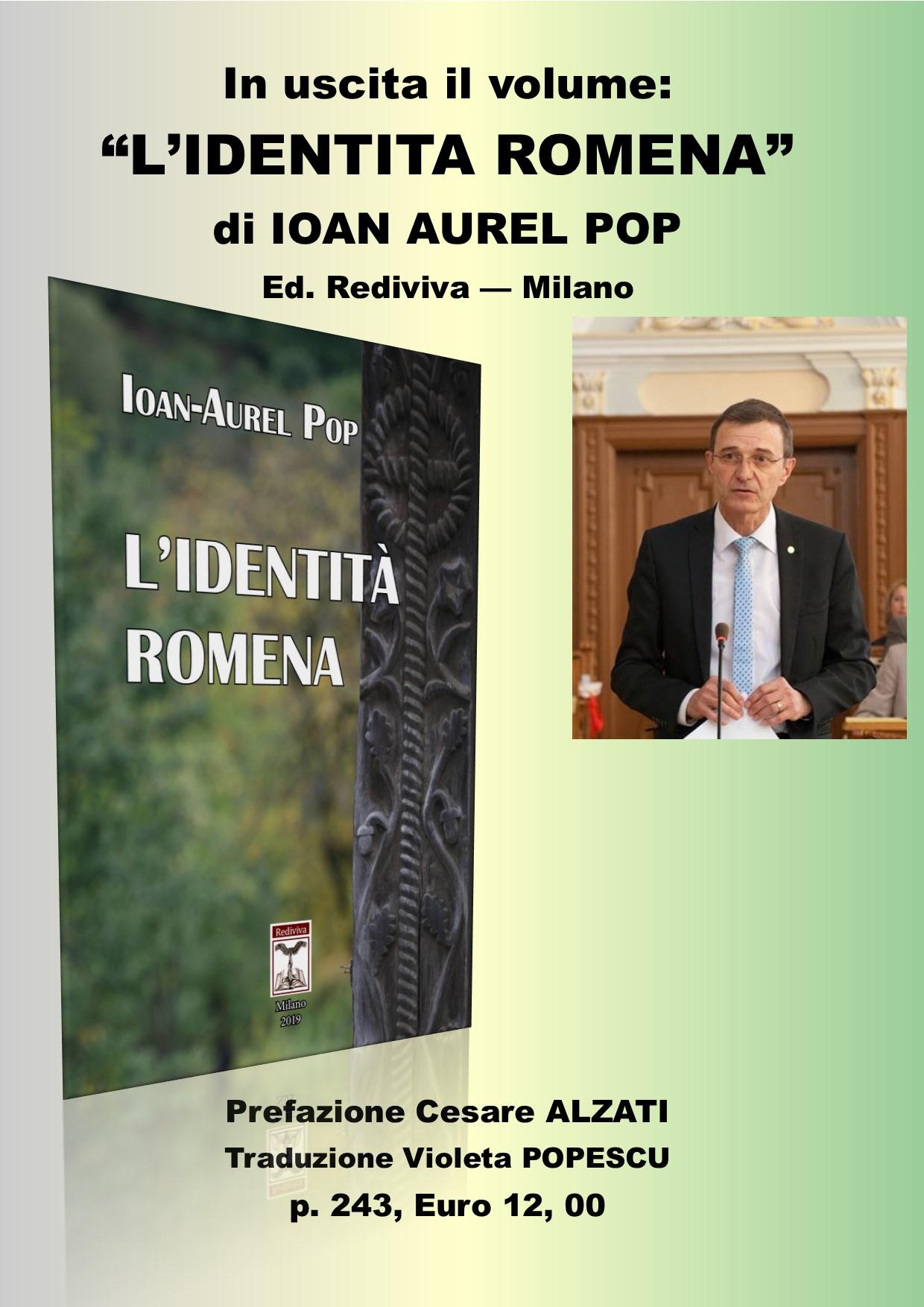 In uscita il volume: L'identità romena di Ioan Aurel POP, ed. Rediviva 2019