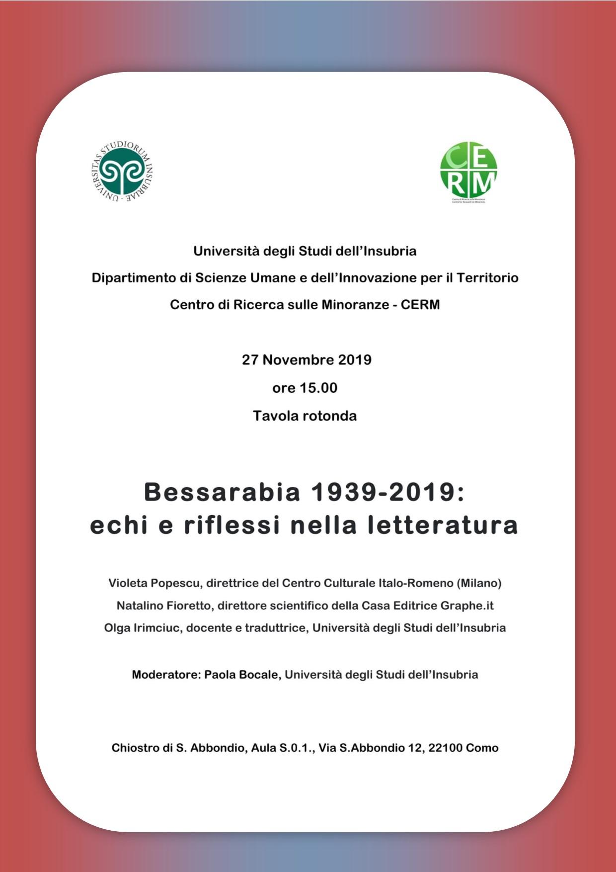 """Università degli Studi dell'Insubria: Tavola rotonda: """"Bessarabia 1939-2019. Echi e riflessi nella letteratura"""""""