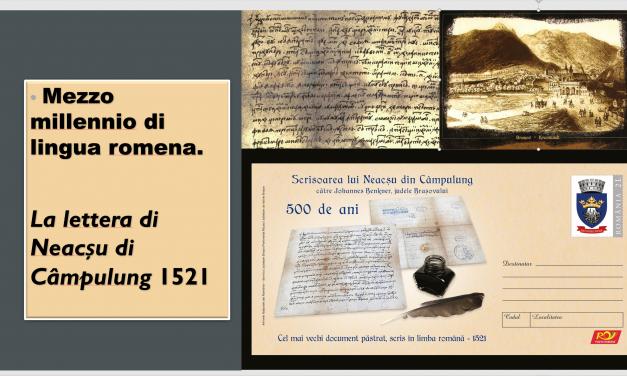 "Mezzo millennio di lingua romena. ""La lettera di Neacșu di Câmpulung"" 1521"