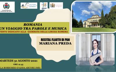 Romania. Un viaggio tra parole e musica, evento in occasione della Giornata della Lingua Romena, Villa Borromeo D'Adda